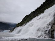 Mendenhall Glacier and waterfall