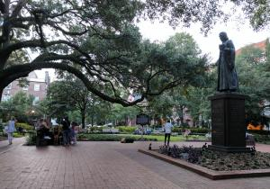Oglethorpe Square. One of 22 square mini-parks in historic downtown Savannah