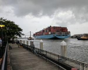 Savannah is a busy international port with huge container ships quietly cruising in and out